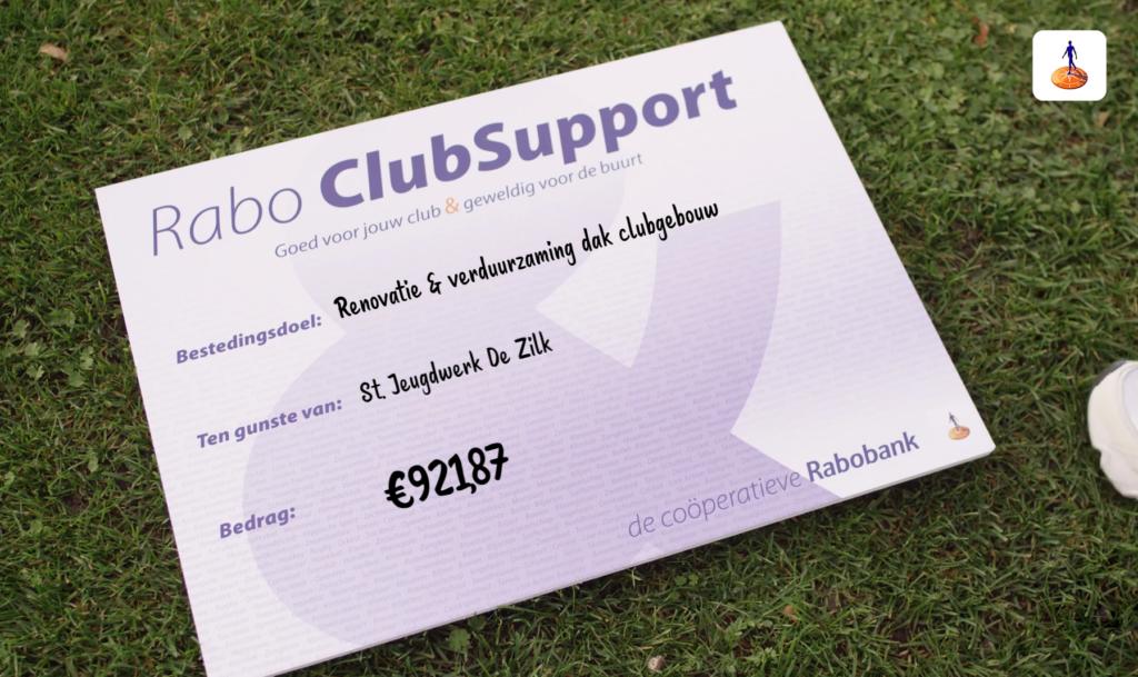Rabo Clubsupport Jeugdwerk De Zilk uitslag.